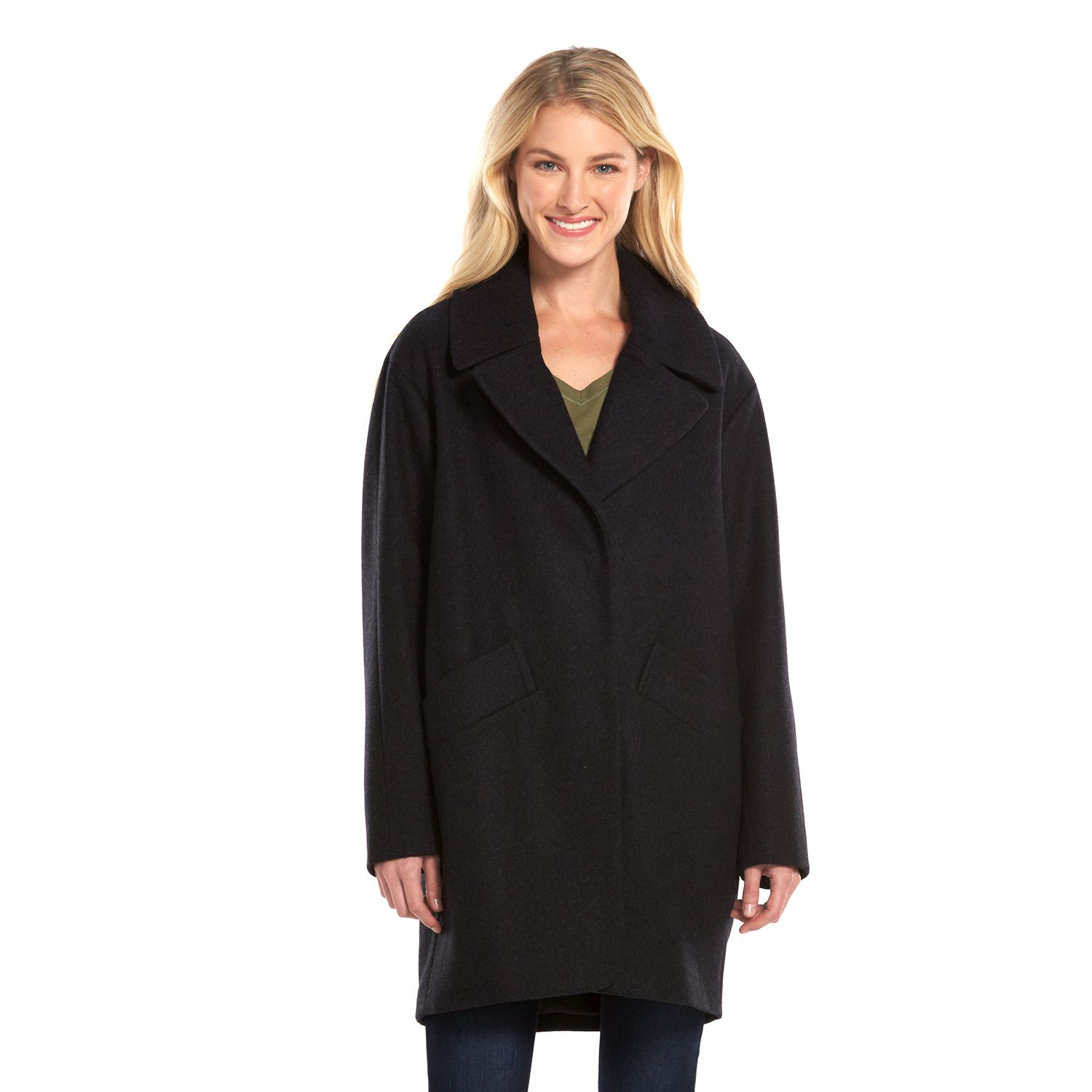 Womens AM Studio by Andrew Marc Wool-Blend Peacoat