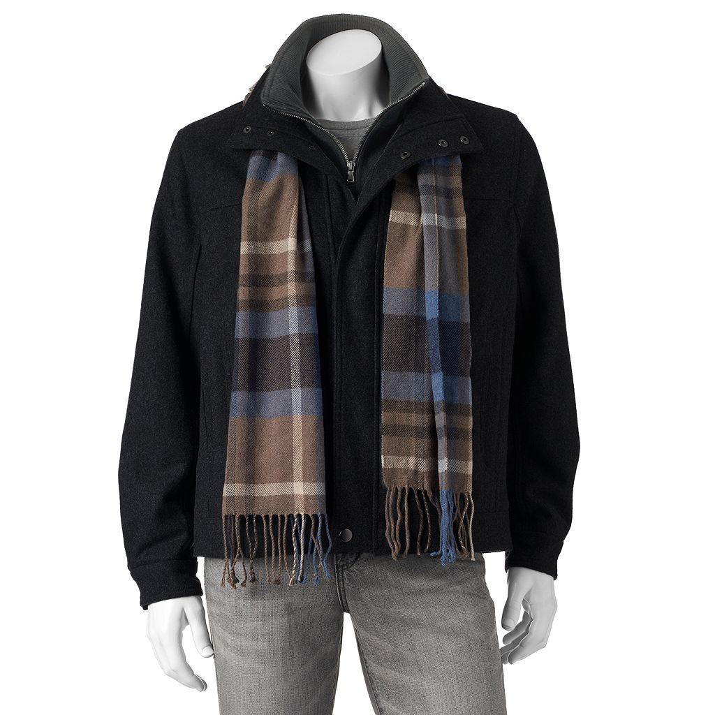 Big & Tall Towne Wool-Blend Hipster Jacket With Plaid Scarf