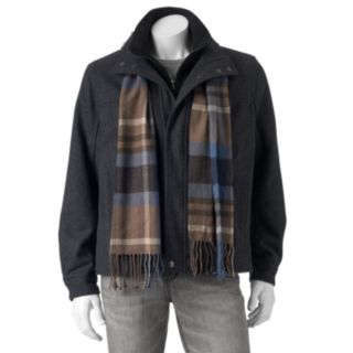 Big & Tall Tower by London Fog Wool-Blend Hipster Jacket with Plaid Scarf