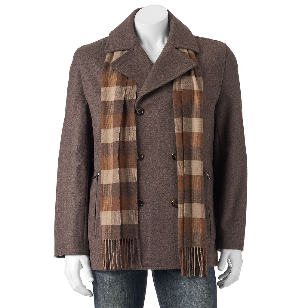 Big & Tall Towne Wool-Blend Double-Breasted Peacoat With Plaid Scarf