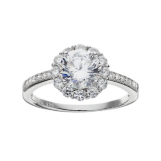Cubic Zirconia Sterling Silver Halo Ring