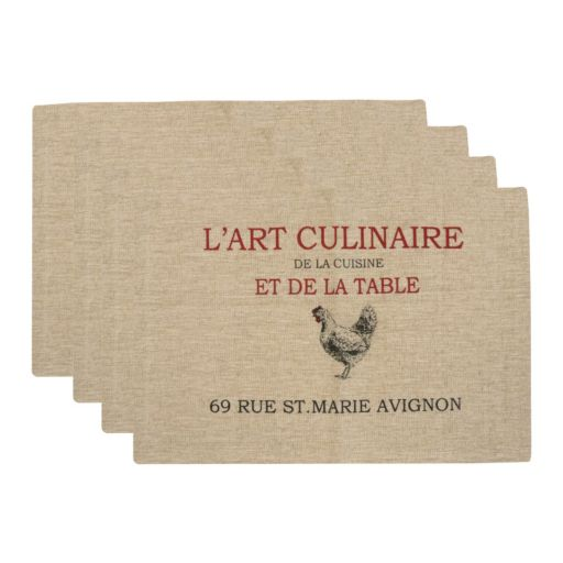 """Park B. Smith """"L'Art Culinaire"""" 4-pc. Placemat Set"""