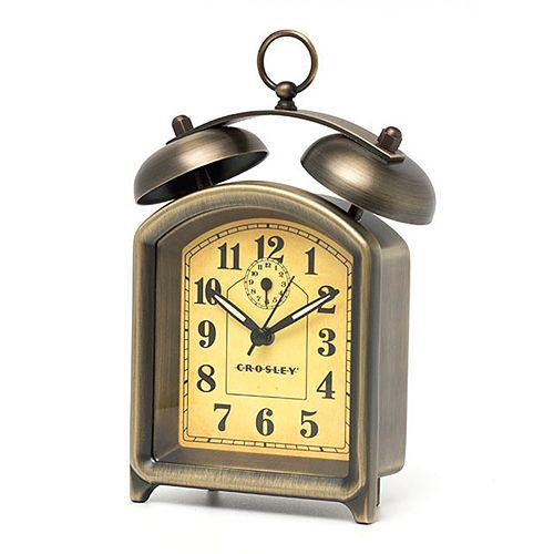 Crosley Square Finial Twin Bell Alarm Clock