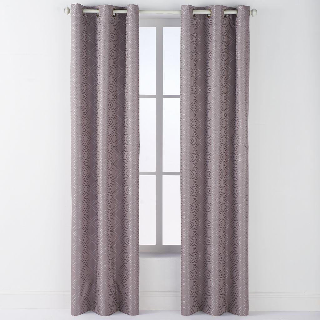 Arlee Arista Diamond Jacquard Blackout Grommet Window Curtain Set - 84'' x 40''