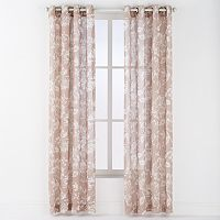 Arlee Asha Linen Leaf Print Grommet Window Curtain Set - 84'' x 54''