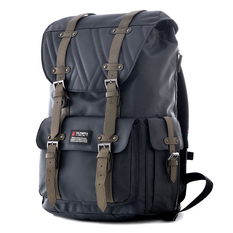 Olympia Hopkins Laptop Backpack, Grey Go back to school in style with this Olympia Hopkins backpack. Water resistant Padded laptop compartment Magnetic strap closure with buckle strap Ergonomically-designed S-curve shoulder straps with airflow Internal organizer Convenient side and top handle Draw cord closure at top opening High-density 1680-denier ballistic polyester fabric 18''H x 12''W x 5.5''D Weight: 2.3 lbs. Polyester Manufacturer's 1-year limited warrantyFor warranty information please click here Model Numbers Charcoal gray: BP-5006-GY Olive: BP-5006-OV Sienna: BP-5006-SI Size: One Size. Color: Grey. Gender: Unisex. Age Group: Adult.