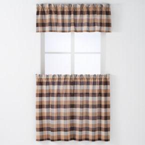 Arlee 3-piece Nottingham Plaid Woven Rod Pocket Window Curtain & Valance Set