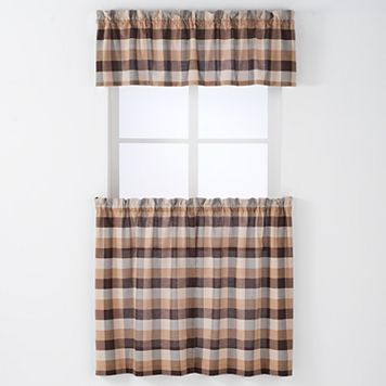 Arlee 3-piece Nottingham Plaid Woven Rod Pocket Window Curtain & Valance Set