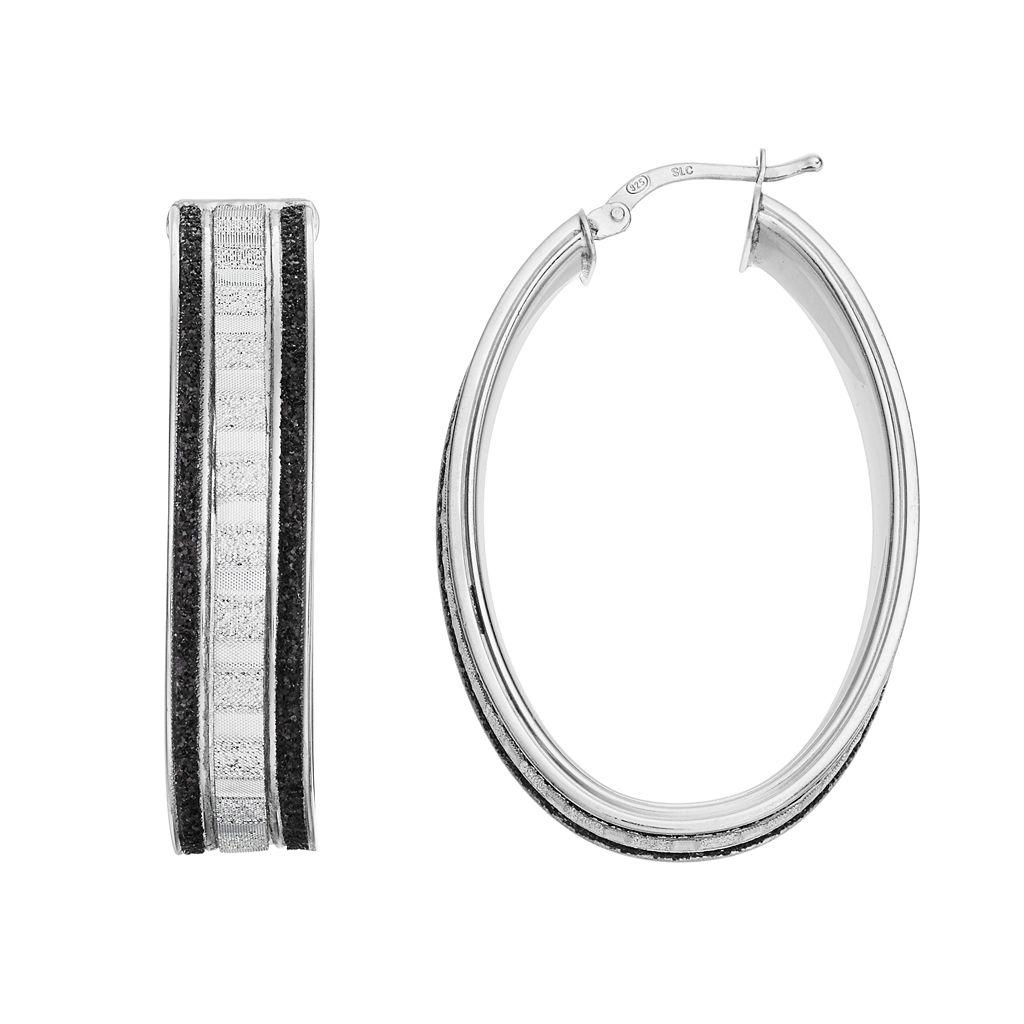 Platinum Over Silver Glitter Oval Hoop Earrings