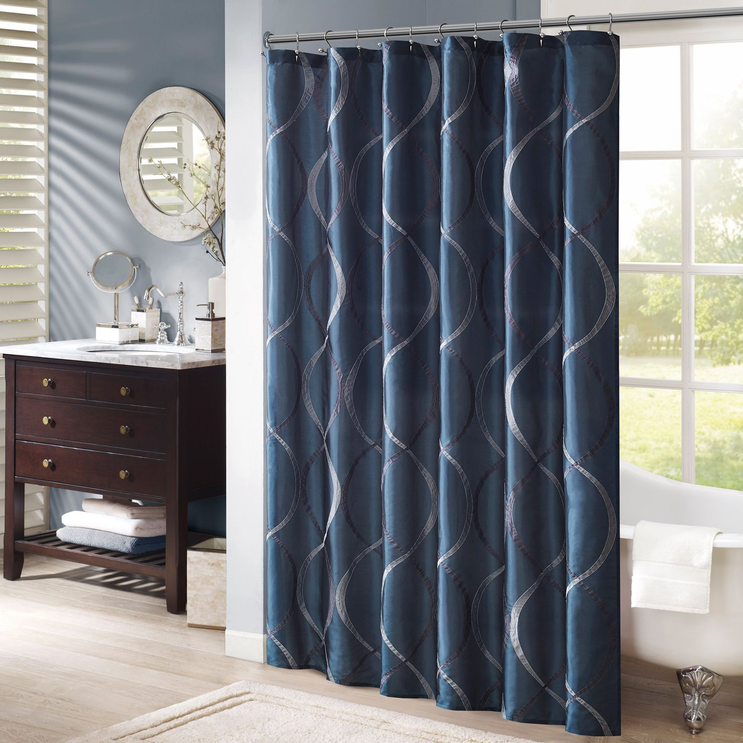 Madison Park Serendipity Embroidered Shower Curtain. Charcoal Navy Ivory
