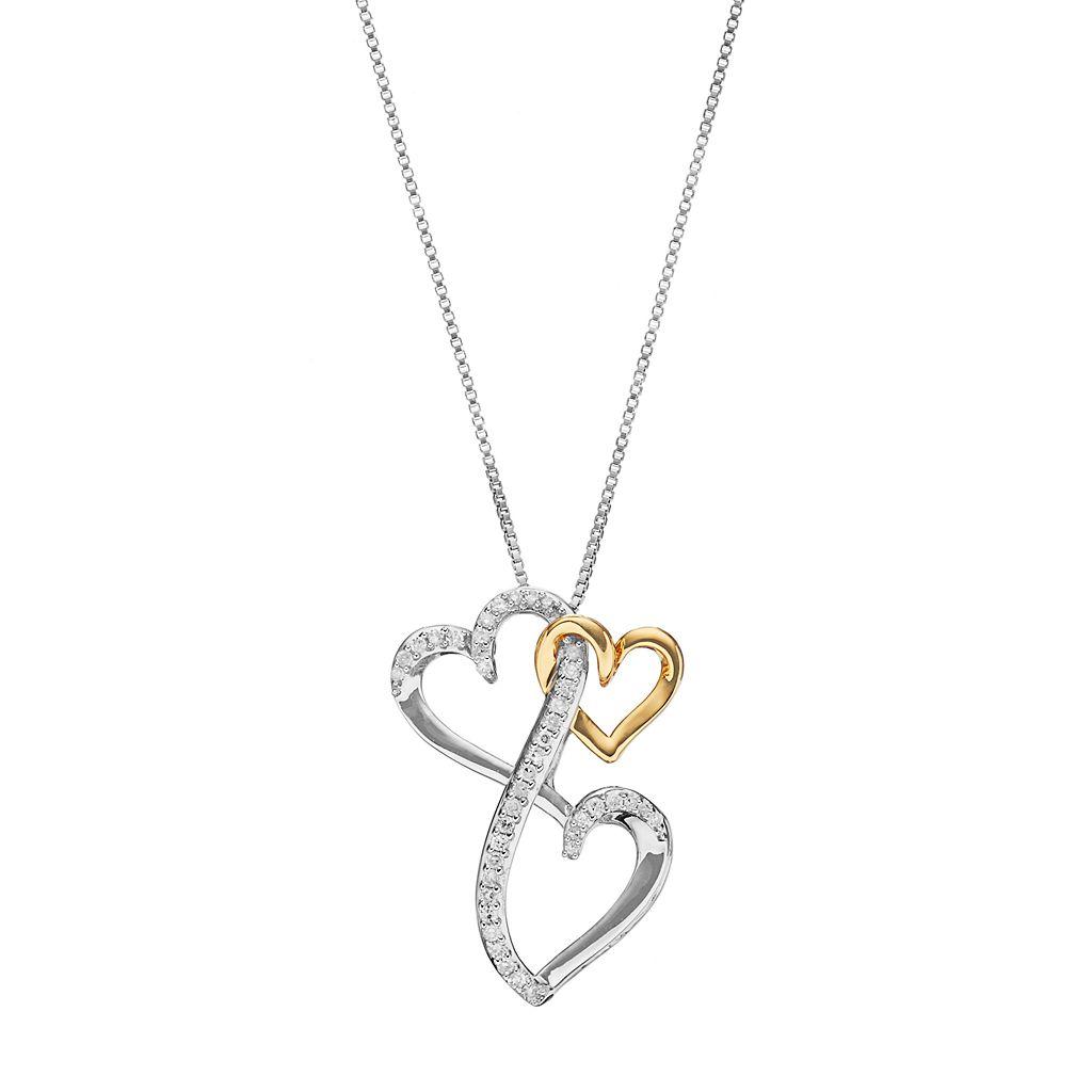 Love Is Forever Two Tone Sterling Silver 1/8 Carat T.W. Diamond Triple Heart Pendant