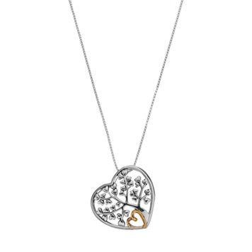 Timeless Sterling Silver Family Tree Heart Pendant