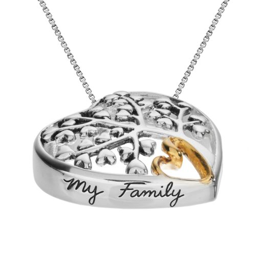 Timeless Sterling Silver Family Tree Heart Pendant