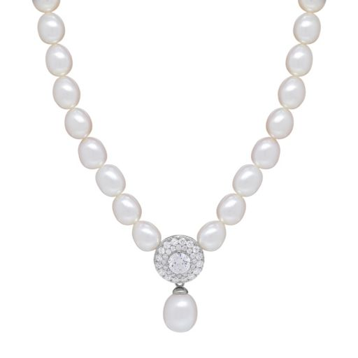 Freshwater by HONORA Sterling Silver Freshwater Cultured Pearl & Crystal Necklace