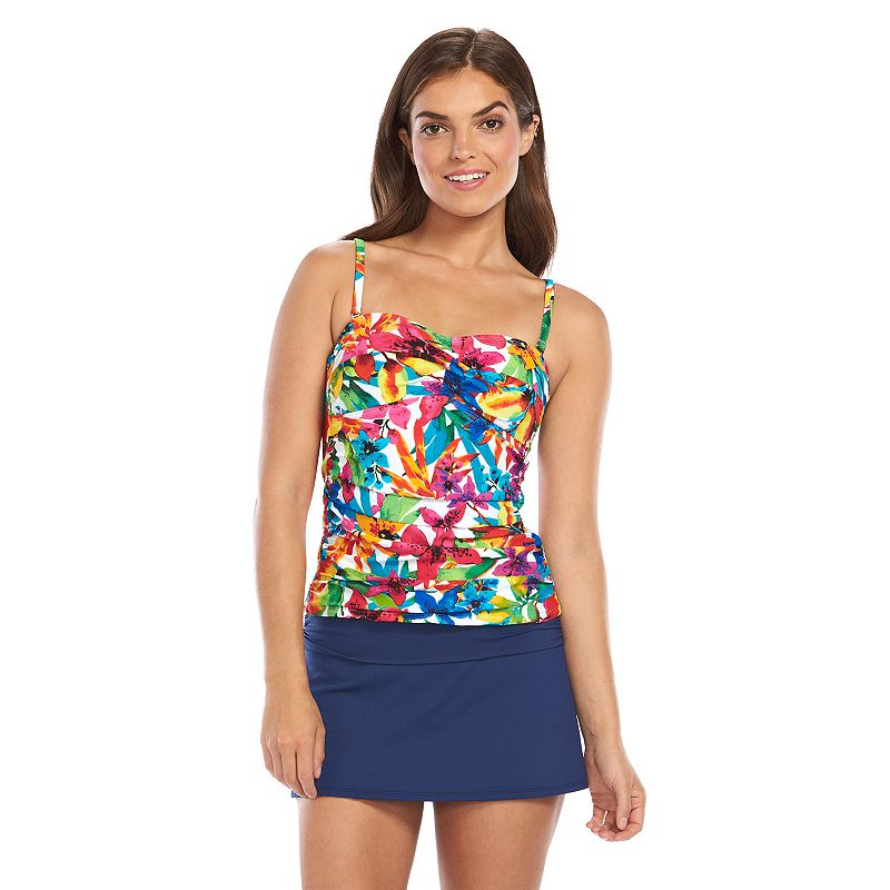 Women's Chaps Floral Ruched Bandeaukini Top