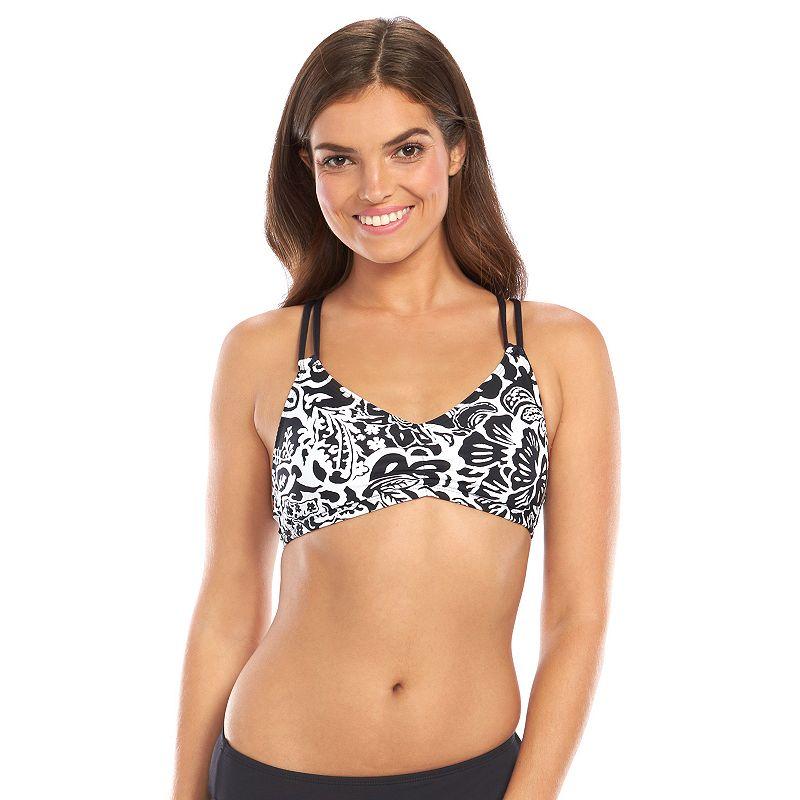 Women's Chaps Floral Ruched Bralette Swim Top