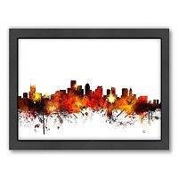 Americanflat Michael Tompsett ''Boston, Massachusetts Skyline'' Framed Wall Art