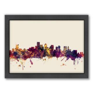 Americanflat Michael Tompsett ''Boston, Massachusetts Skyline'' Framed Wall Art