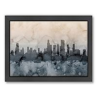 Americanflat Michael Tompsett ''Chicago Skyline'' Black Framed Wall Art