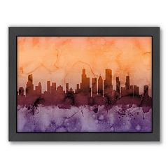 Americanflat Michael Tompsett ''Chicago Skyline'' Black Framed Wall Art