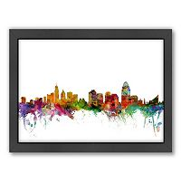 Americanflat Michael Tompsett ''Cincinnati, Ohio Skyline'' Framed Wall Art