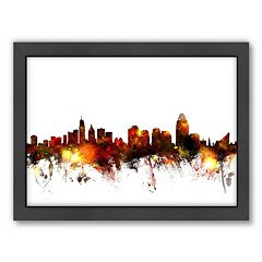 Americanflat Michael Tompsett ''Cincinnati, Ohio Skyline'' Framed Wall Art