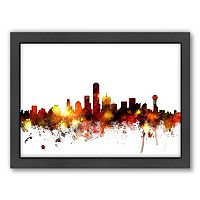 Americanflat Michael Tompsett ''Dallas, Texas, Texas, Texas Skyline'' Framed Wall Art