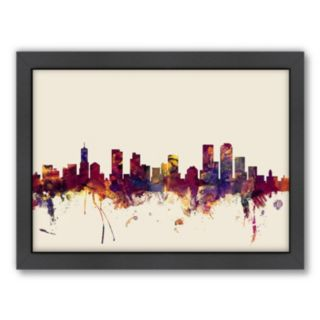 Americanflat Michael Tompsett ''Denver, Colorado Skyline'' Framed Wall Art