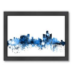 Americanflat Michael Tompsett ''Detroit , MichiganSkyline'' Framed Wall Art