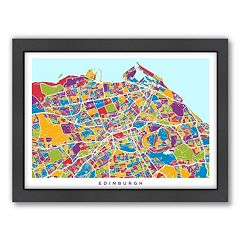 Americanflat Michael Tompsett ''Edinburgh Street Map'' Framed Wall Art