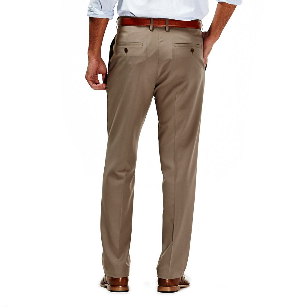 Men's Haggar No Iron Solid Straight-Fit Flat-Front Dress Pants