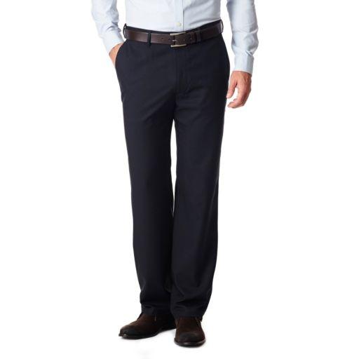 Men's Haggar No Iron Solid Straight-Fit Flat-Front Dress Pants