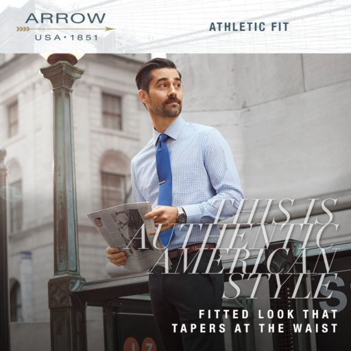 Men's Arrow Athletic-Fit Solid Wrinkle-Free Spread-Collar Dress Shirt