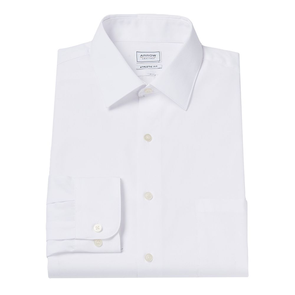 Mens Arrow Athletic Fit Solid Wrinkle Free Spread Collar Dress Shirt