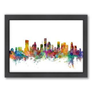 Americanflat Michael Tompsett ''Houston, Texas Skyline'' Framed Wall Art
