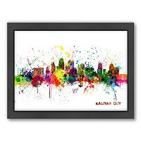 Americanflat Michael Tompsett ''Kansas City, Missouri Skyline'' Framed Wall Art