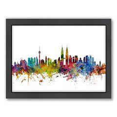 Americanflat Michael Tompsett ''Kuala Lumpur Skyline'' Framed Wall Art