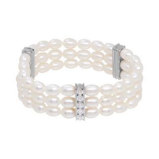 Freshwater by HONORA Sterling Silver Freshwater Cultured Pearl & Crystal Stretch Bracelet