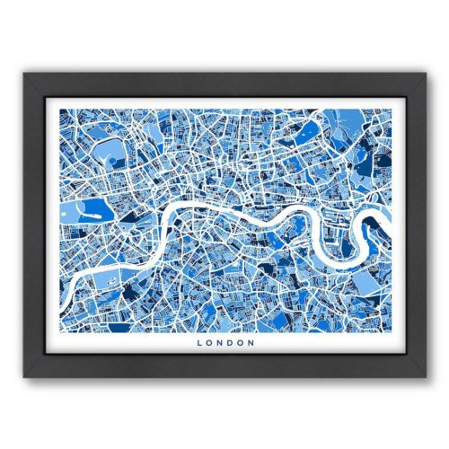 Americanflat Michael Tompsett ''London Street Map'' Framed Wall Art