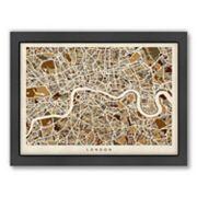 Americanflat Michael Tompsett ''London Street Map'' Framed Wall Art