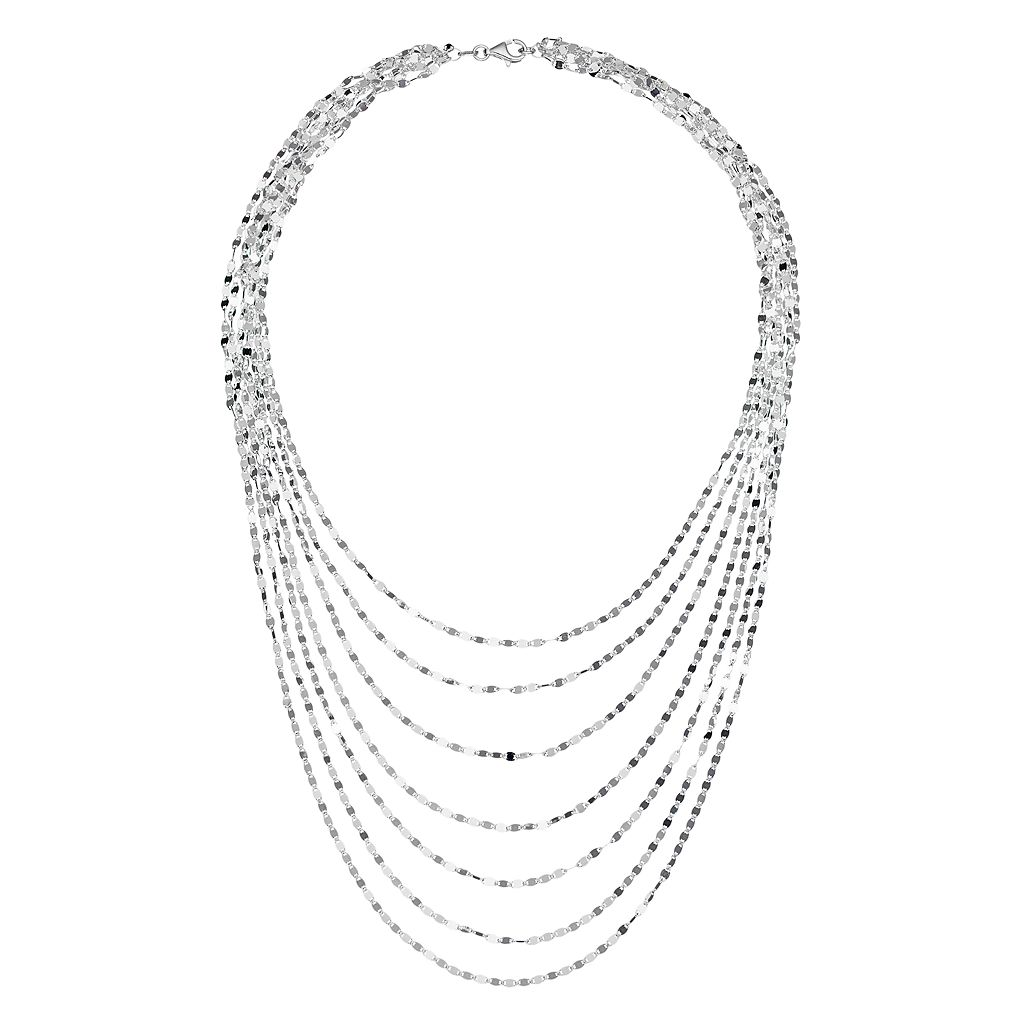 Sterling Silver Twist Link Multi Strand Necklace