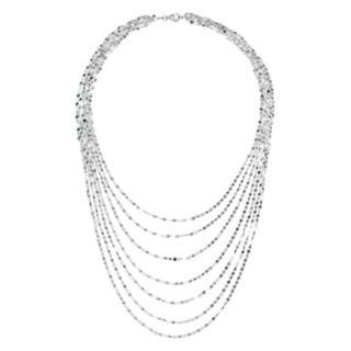 Sterling Silver Twist Link Multi Strand Necklace