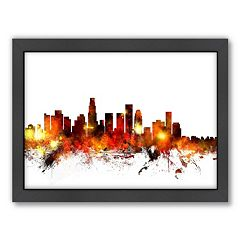 Americanflat Michael Tompsett ''Los Angeles, California Skyline'' Framed Wall Art