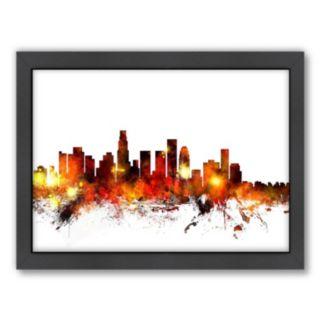 Americanflat Michael Tompsett ''Los Angeles, California Skyline'' Framed Wall Art