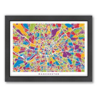 Americanflat Michael Tompsett ''Manchester Street Map'' Framed Wall Art