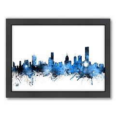 Americanflat Michael Tompsett ''Melbourne Skyline'' Framed Wall Art