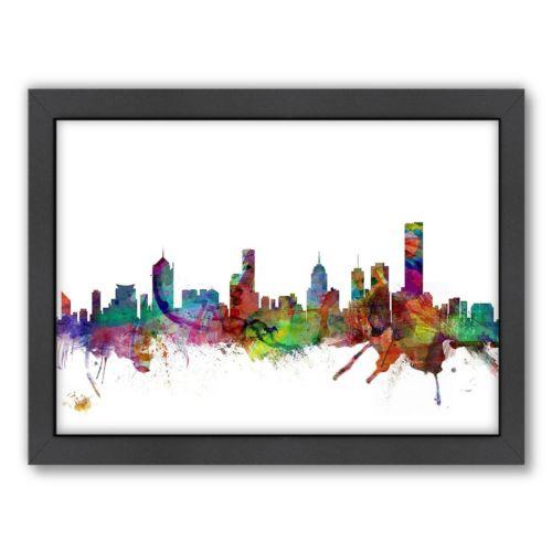 Americanflat Michael Tompsett ''Melbourne Skyline'' Framed Wall Art