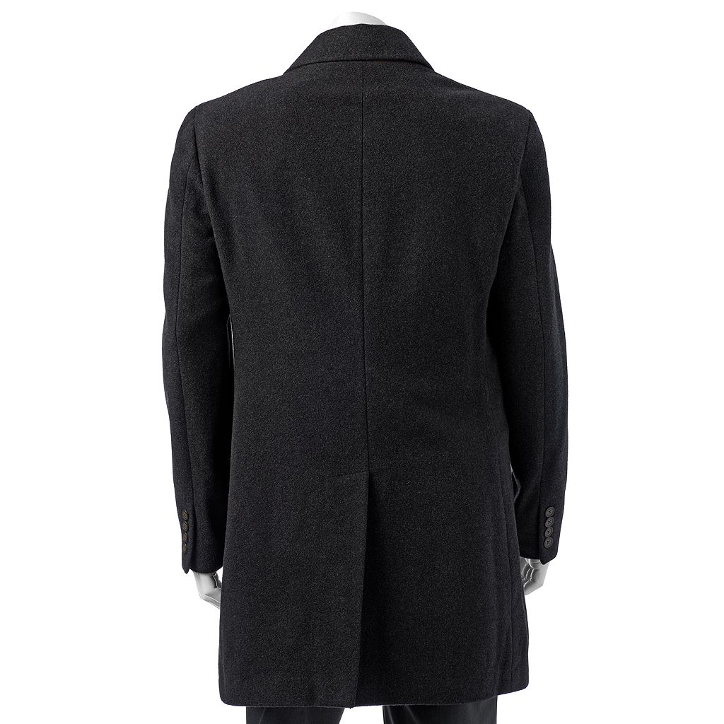 Men's Chaps Classic-Fit Charcoal Wool-Blend Coat