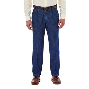 Men's Haggar® Work to Weekend® Classic-Fit Pleated Denim Pants