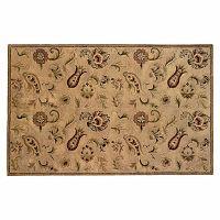Linon Ashton Floral Beige Wool Rug